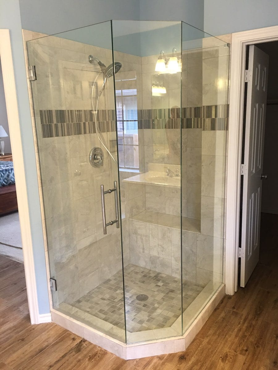 rotated door custom bathroom mirrors and decorative glass from Shower Doors of Nashville
