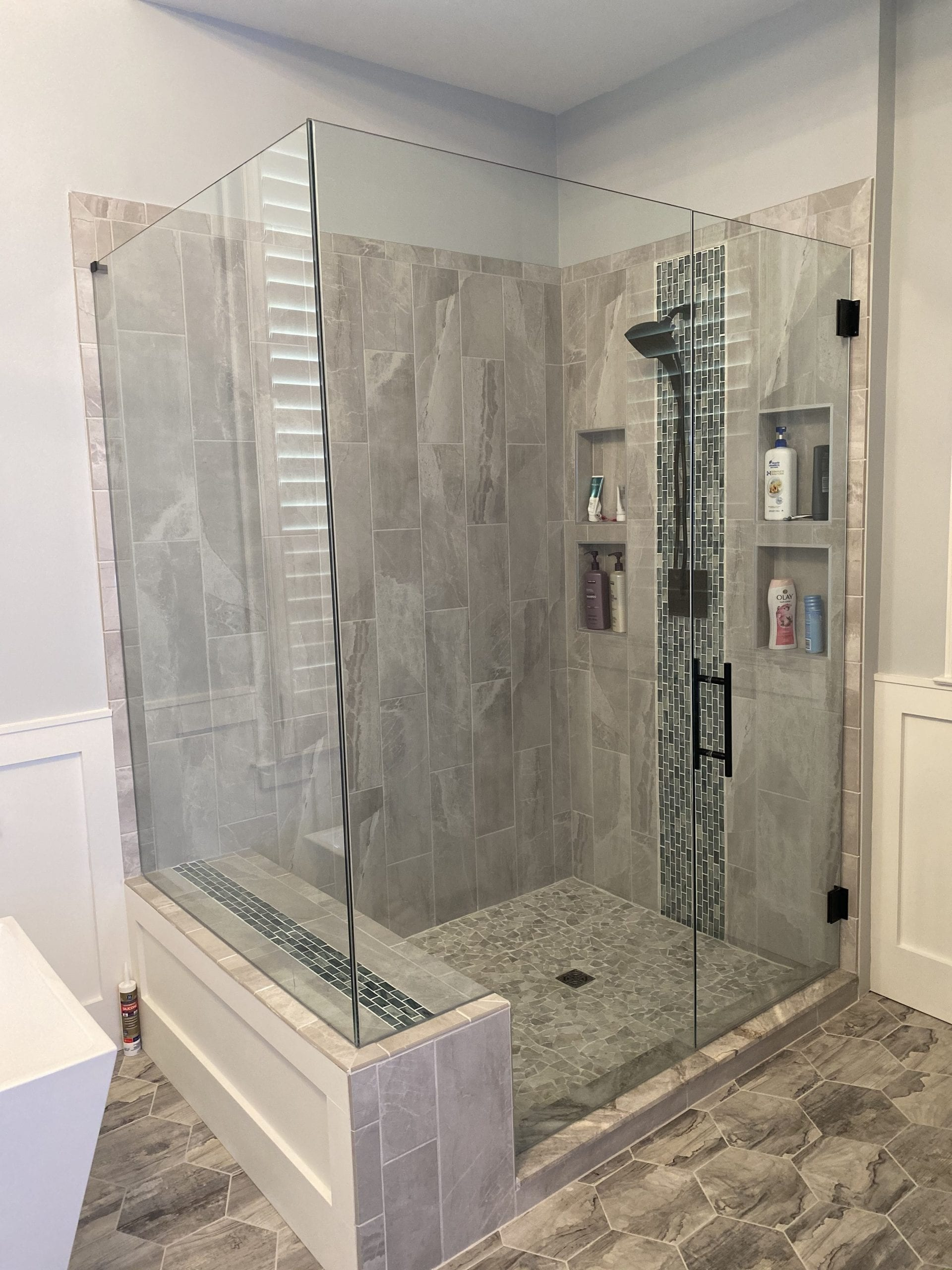 rotated custom bathroom mirrors and decorative glass from Shower Doors of Nashville